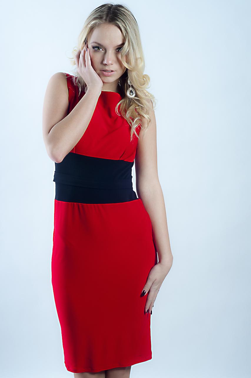 Красное Трикотажное Платье Купить